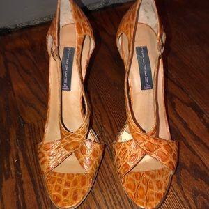 Leather crocodile print peep toe heels